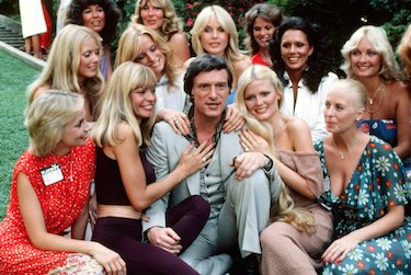 Hef With Bunnies on Lawn