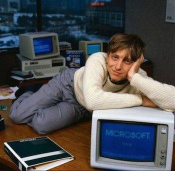 Bill Gates Posing on Desk